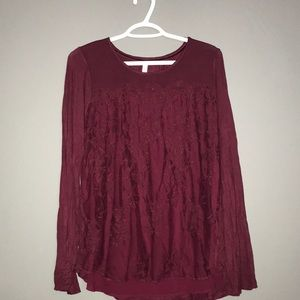 Red lace long sleeve shirt